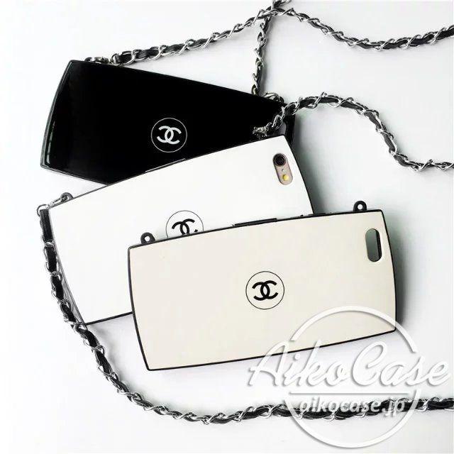 iphoneケース シャネル パウダーケース iphone7ケース チェーン付き iphone7plusケース CHANEL iPhone6sケース 芸能人愛用 アイフォン6sプラスカバー 可愛い chanel 人気作品 ブラック/ページュ/ホワイト