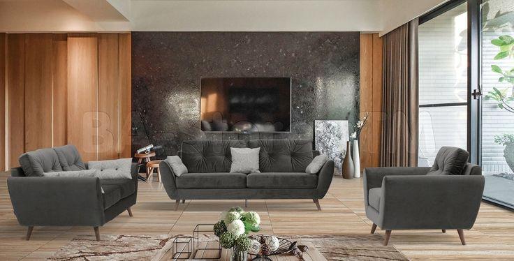 707 Sofa Set in Dark Grey by ESF