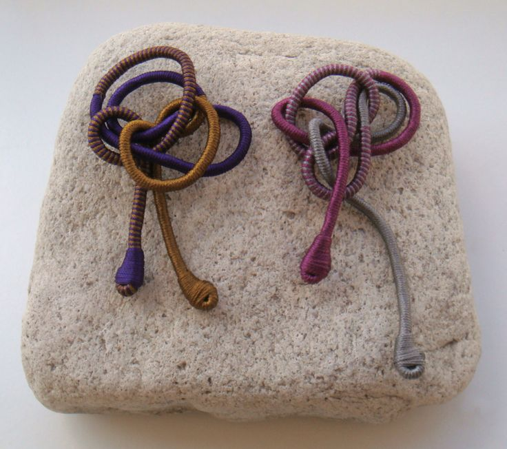 brooches with silky yarn