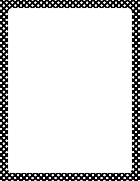 Printable black and white polka dot border. Free GIF, JPG, PDF, and PNG downloads at http://pageborders.org/download/black-and-white-polka-dot-border/. EPS and AI versions are also available.