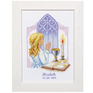 """Her First Holy Communion  CELEBRATE THEIR FIRST HOLY COMMUNION with a personalized counted cross stitch commemorative. Kits include 18-count white Aida cloth, presorted DMC cotton floss, needle, chart, alphabet and directions. Each, 6 3/4"""" x 9 1/4"""" without frame. Imported from Belgium. Stitchery exclusives!    ****   Her First Holy Communion  Item #:T21527"""