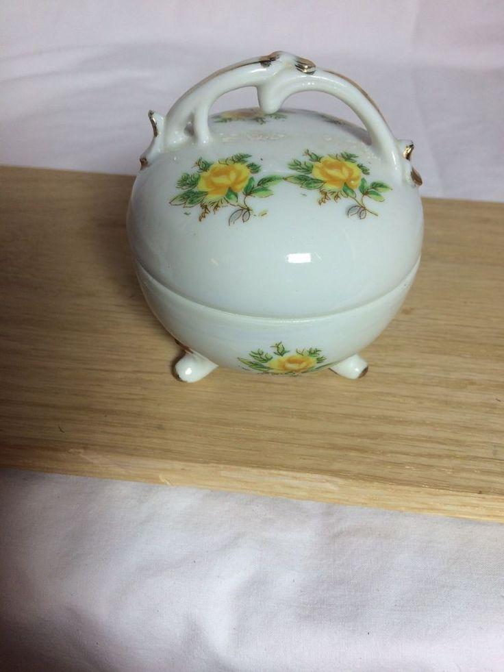 Vintage Porcelain Trinket Box, Floral & Gold Design