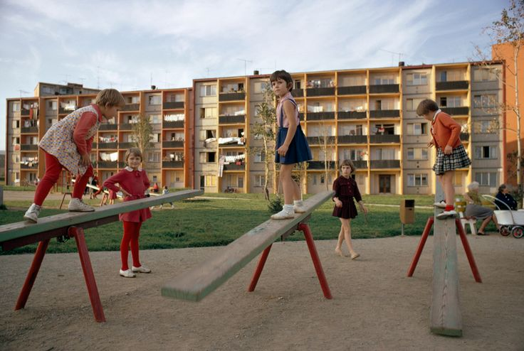 Czech girls on a playground at an apartment complex, October 1966.Photograph by James P. Blair, National Geographic