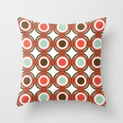 Love pattern - vintage CHOCOLATE Throw Pillow by Karla Teceno - $20.00