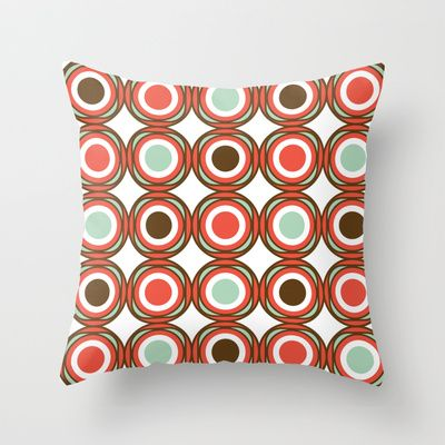 Love pattern - vintage CHOCOLATE Throw Pillow by Karla Teceno - $20.00