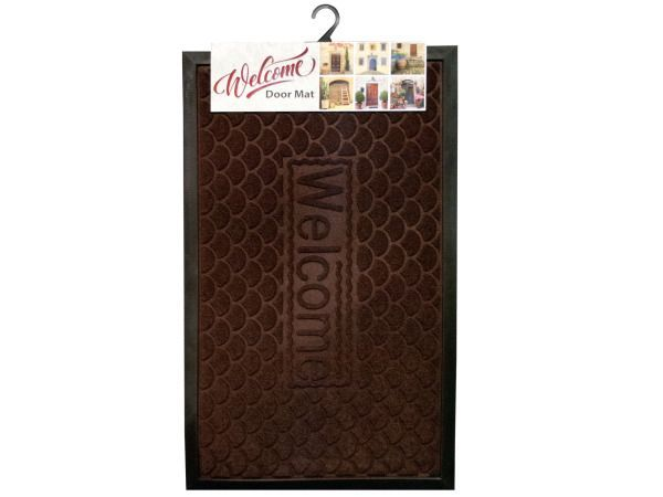 "Large Welcome Door Mat, 8 - A stunning way to welcome guests, this Large Welcome Door Mat features a crescent design with the word ""Welcome"" in the center of the mat. This welcome mat is a bold addition to your entryway. Measures approximately 29"" x 17 1/2"". Comes packaged with a hanging panel.-Colors: black,brown. Material: rubber,synthetic. Weight: 1.9771/unit"