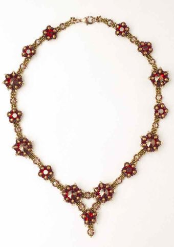 Les Fleurs Necklace from Sabine Lippert's Beaded Fantasies