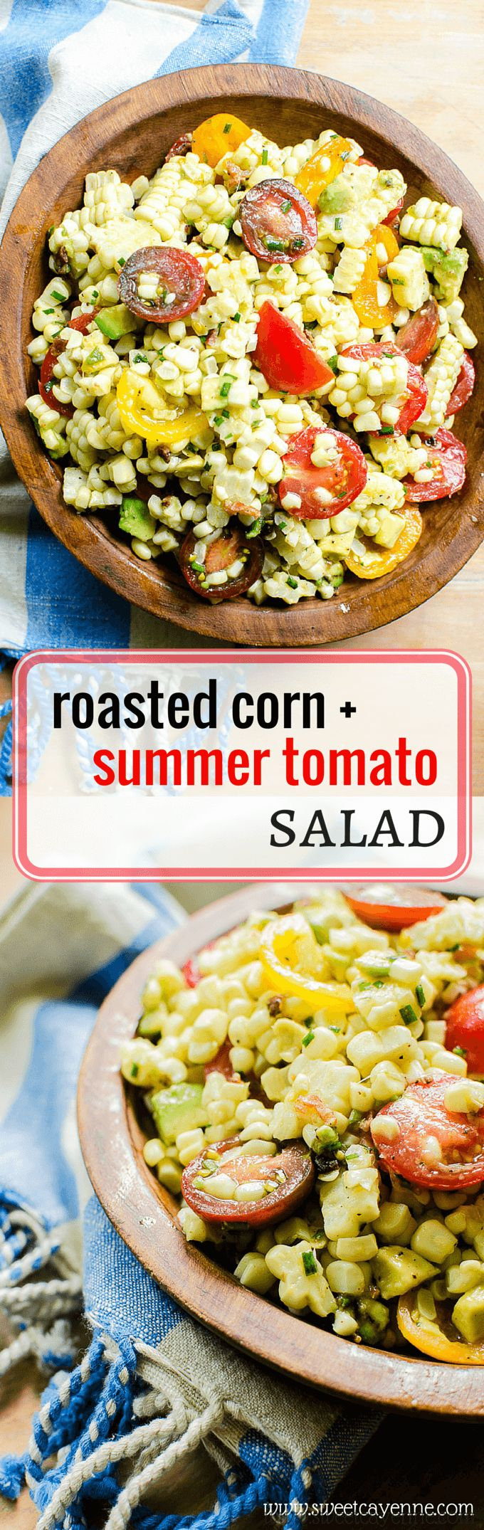 This roasted corn and summer tomato salad is a healthy recipe that goes great with any summer or grilled menu! Make it for the 4th of July this year!
