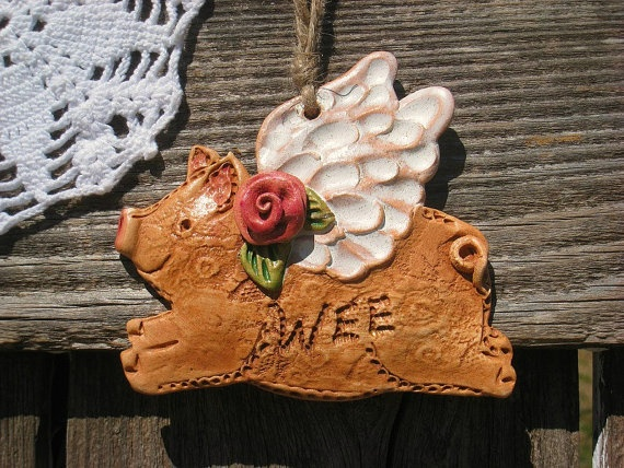 When Rosy Pigs Fly Home Decor / Flying Pig By TexasAngelGifts, $12.00