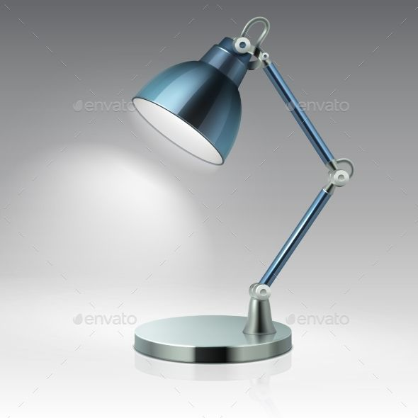Modern Office Table Metal Lamp Vector Illustration Metal Lamp Modern Office Table Lamp