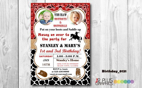 Cowgirl Photo Birthday Invitation with Photo by J2PlusGraphics