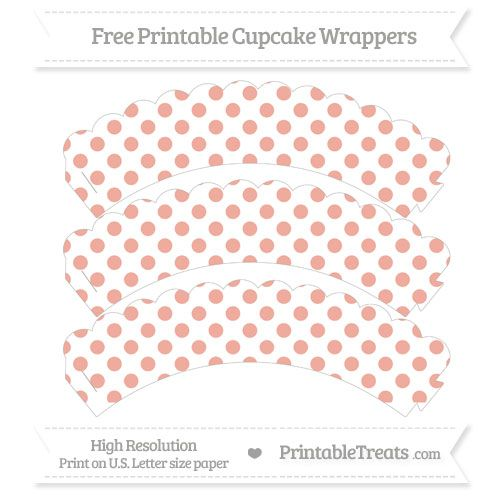 Free Pastel Coral  Dotted Pattern Scalloped Cupcake Wrappers