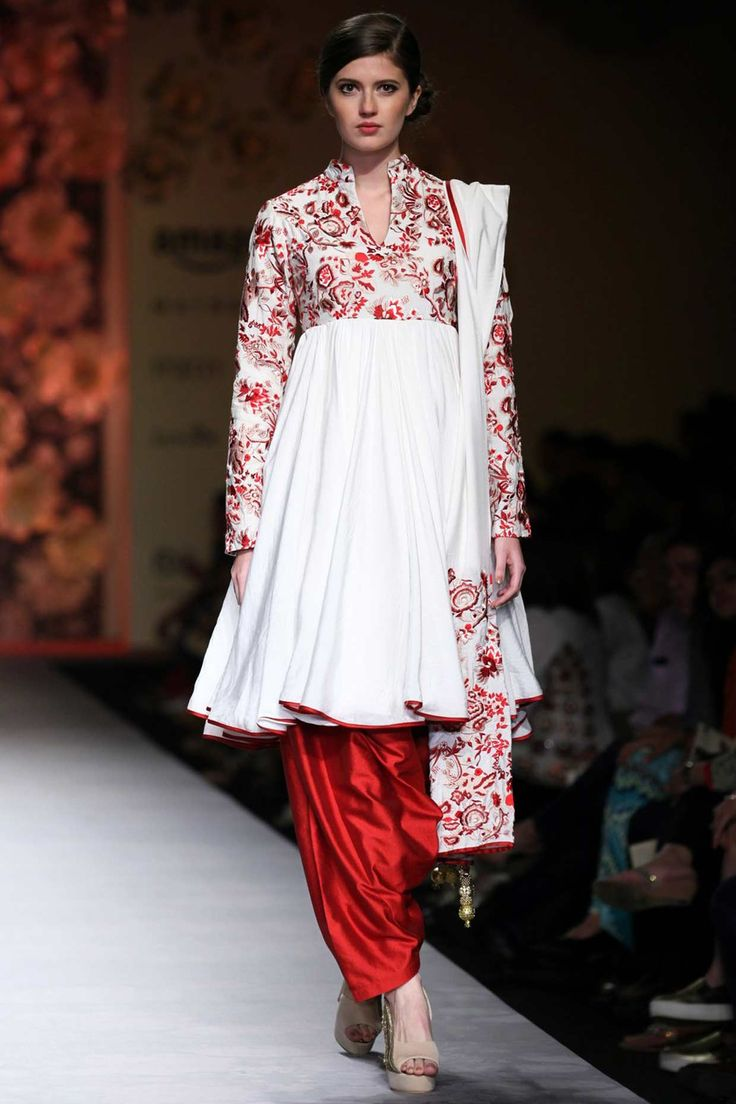 SIDDARTHA TYTLER White thread embroidered anarkali with patiala