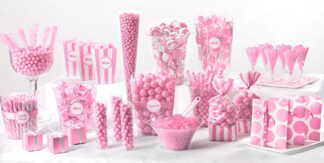 Light Pink Candy Buffet - We can get this stuff at Party City and it's not very expensive!