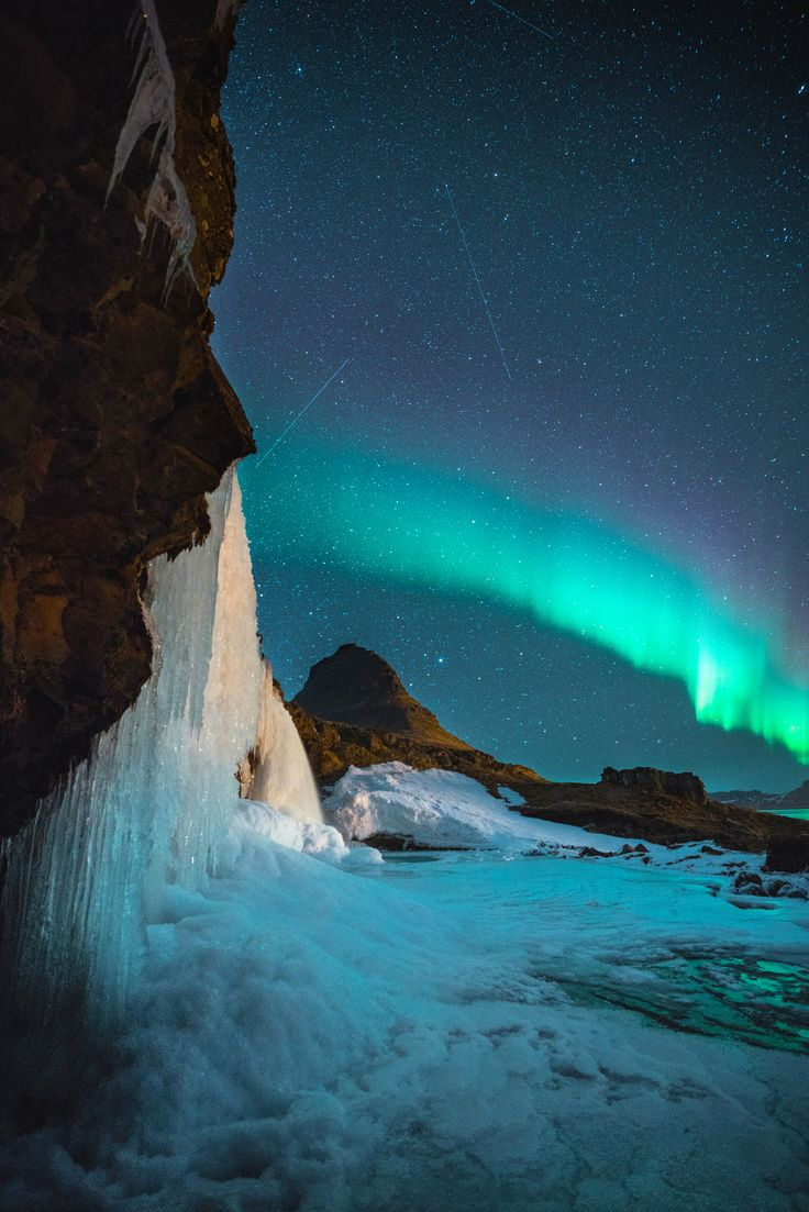 4347 best aurora borealis images on pinterest northen lights nighttime at the waterfall a night at kirkjufell iceland 040518 publicscrutiny Image collections