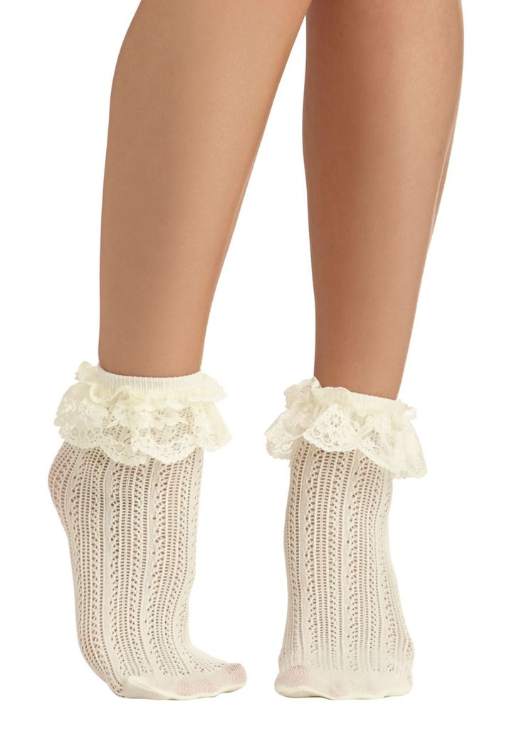 Dancing on Flair Socks. With these crocheted ivory socks peeking out from the top of your saddle shoes, you wont be able to keep your feet still! #cream #modcloth