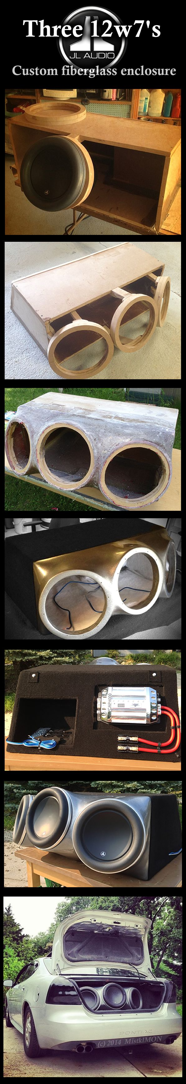 Custom fiberglass enclosure for three JL Audio 12w7s