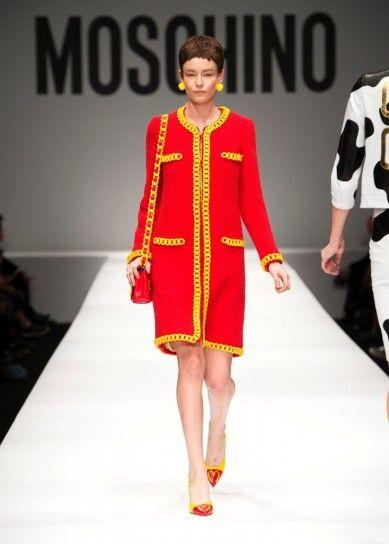 Moschino cappotto bicolorCappottino rosso chiaro e giallo per l'inverno 2015