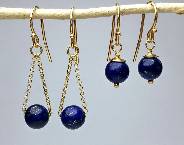 - Beautiful - simple drop earrings in 18K gold vermeil with natural lapis lazuli. Lapis Lazuli is a dark blue gemstone with tiny, natural gold flecks that sparkle and shine! They match with every colour and outfit, from a formal one to an everyday! Classy and elegant!