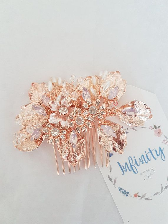 Rose Gold Bridal Hairpiece Rose Gold Bridal Hair Comb Rose Gold