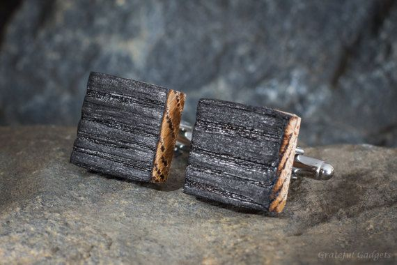 Bourbon Whiskey Barrel Wood Cufflinks  Cuff Links Groomsmen