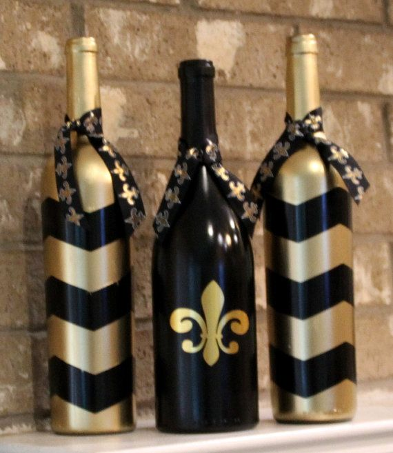 New Orleans Saints wine bottles football by TheAnchoredElephant