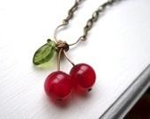cherry<3: Glasses Leaf, Cherries Lov, Cheeri Cherries, Ho Cherries, Cherries Jewlery, Baubles Necklaces, Pink Agates, Cherries Jubilee, Cherries Necklaces