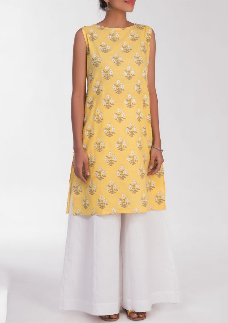 block printed yellow sleeveless kurti women