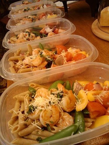 Sauteed shrimp with whole wheat penne pasta, fresh snap peas, tomato ...