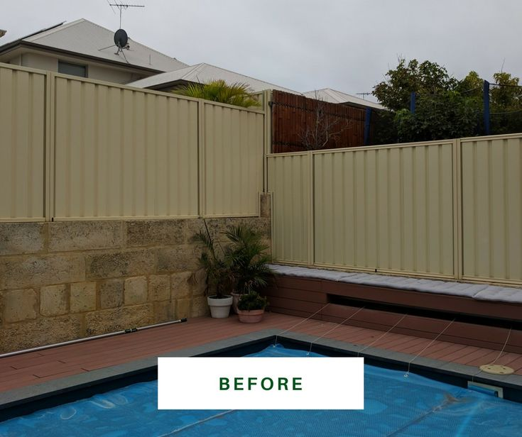 This yellow colorbond fence is a challenge. See 'After' photo for amazing difference! https://fencemakeovers.com.au