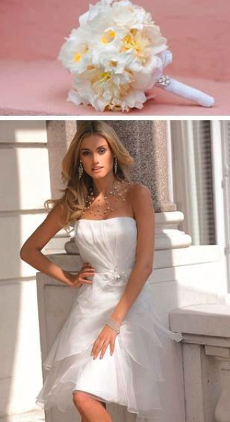 Deze trouwjurk van Ladybird is erg geschikt voor de glamoureuze bruid die graag een korte trouwjurk draagt.
