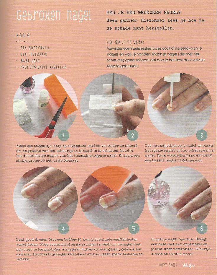 een gebroken/gescheurde nagel valt te repareren met een theezakje Ipv de lijm gewoon blanke lak gebruiken!