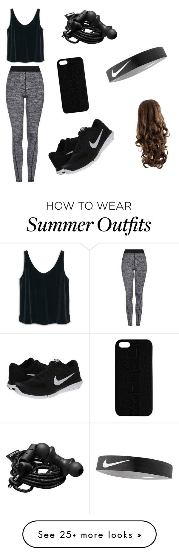 nike shoes Summer workout outfit by minnie-2012 on Polyvore featuring moda, Topshop, MANGO, NIKE, Maison Takuya y Urbanears