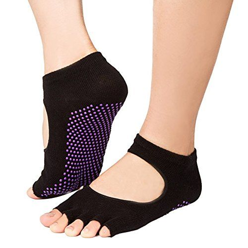 [4 Pack] UNIQEE Grip Toeless Yoga Pilates Barre Socks with Non Slip Massage Silicone Dot for Women #deals