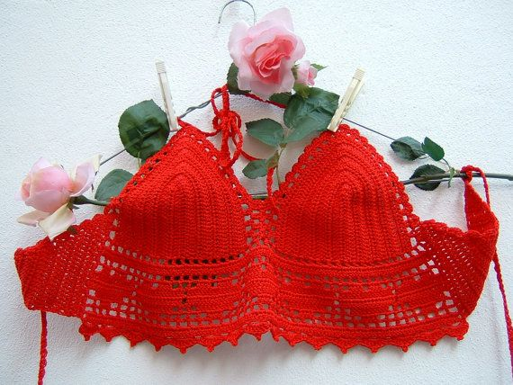 Red top crochet-crochet cotton-Top hippie chic Bra with hearts