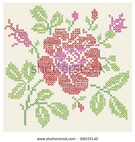 Vector imitation of the vintage blanket with embroidery Rose ornate./ Cross stitch rose./ Cross-stitch. by Andris Tkacenko, via ShutterStock