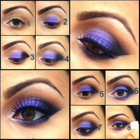 Go Bold with Purple 1) Shroom inside corner n under the brow for a highligh…  - Click image to find more makeup posts