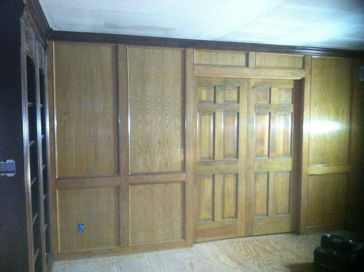 Golden Oak Library Panels Before Gel Stain To Match New