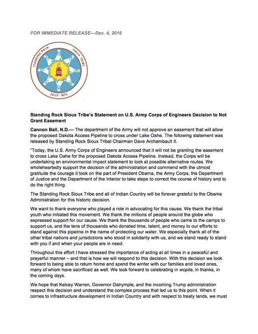 The Standing Rock Sioux Tribe has just issued a statement on the U.S. Army Corps of Engineers decision to not approve an easement that will allow the proposed Dakota Access Pipeline to cross under Lake Oahe.    The news was reported on MSNBC and...