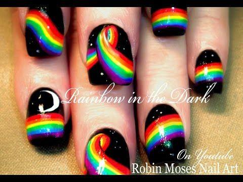 Rainbow in the Dark Nail Art Design Tutorial   DIY Easy and Fun Nails - YouTube