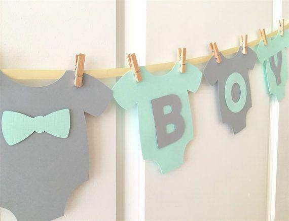 "Baby One-Piece Bodysuit ""IT'S A BOY"" Baby Shower Banner: Light Teal/Aqua/Mint…"