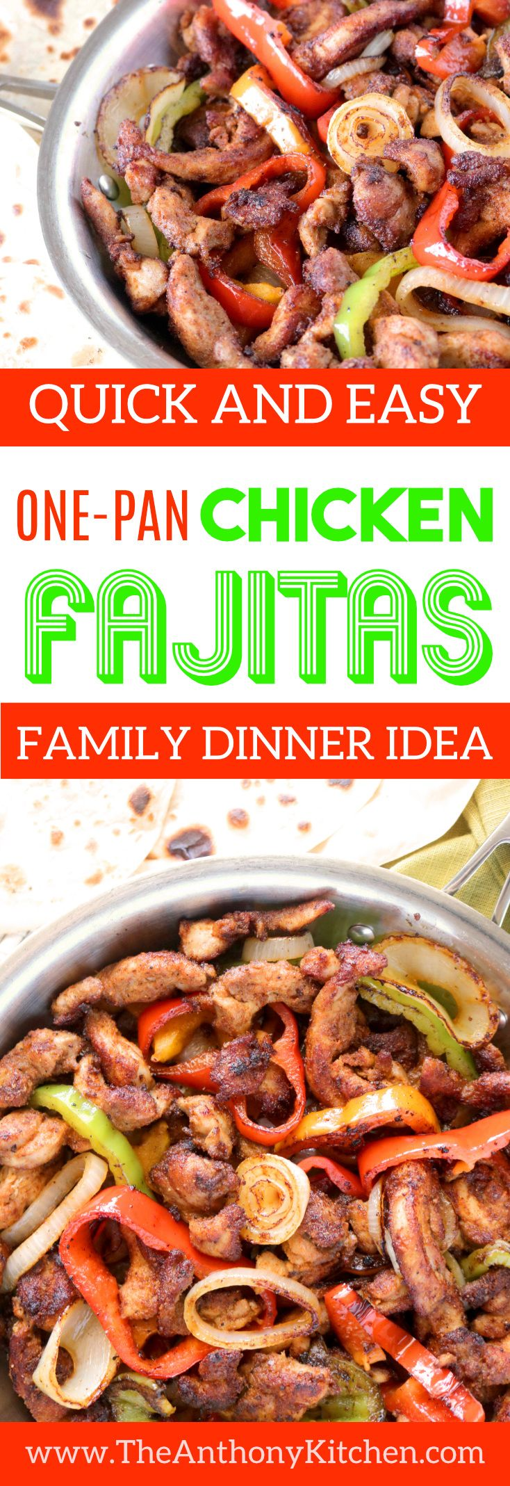 Skillet Chicken Fajitas   A one-pan, quick-fix dinner featuring skillet fajitas made with chicken thighs, onions, and bell peppers   #onepandinners #onepotdinner #healthychickendinner #healthyfamilydinner #texmex #chickenfajitas
