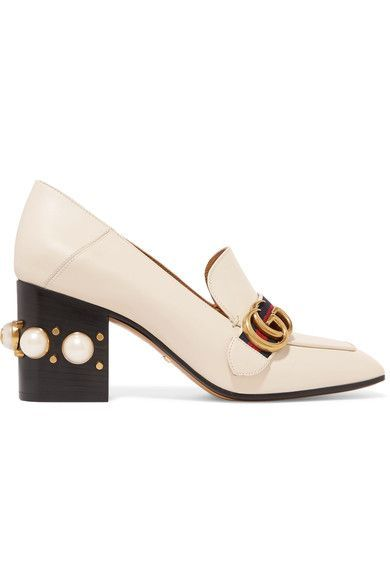 Heel measures approximately 75mm/ 3 inches Off-white leather Slips on Made in Italy