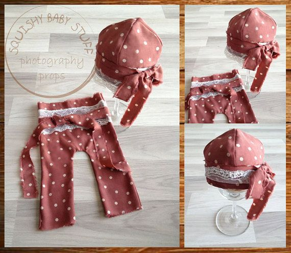 READY TO SHIP Newborn Baby Pants and Cap Set by SquishyBabyStuff, $35.00