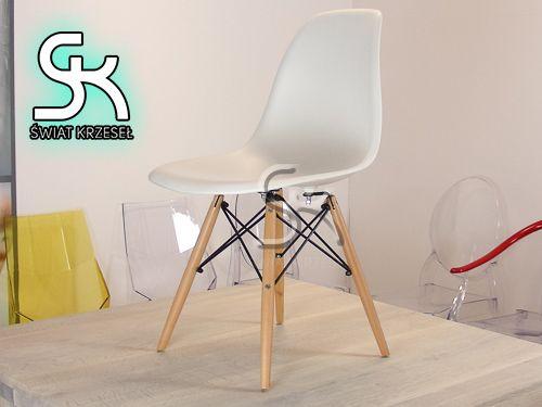 Krzesło inspirowane DSW Eames Eiffel drewniane nogi