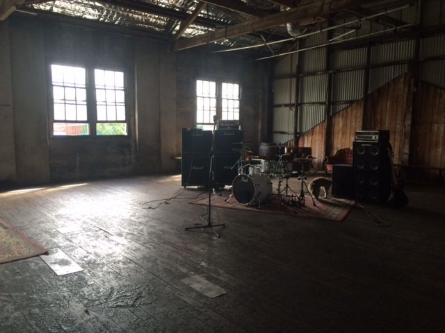 Band idea 2 - warehouse at Sydney Props, more 'stuff' and blacked out windows and lights