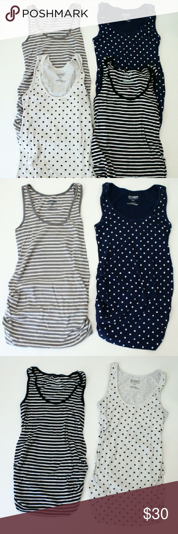 Bundle of Maternity Tank Tops, Old Navy Size Small This listing is for a group of four Old Navy brand maternity ribbed tank tops, size small. All the same style in different colors/patterns: navy and white stripes, grey and white stripes, navy with white polka dots, and white with black polka dots. These were the best tank tops when I was pregnant! Super soft and stretchy, long length for full coverage, ruched sides so I wore them from when I first started showing up to full term! Minor…