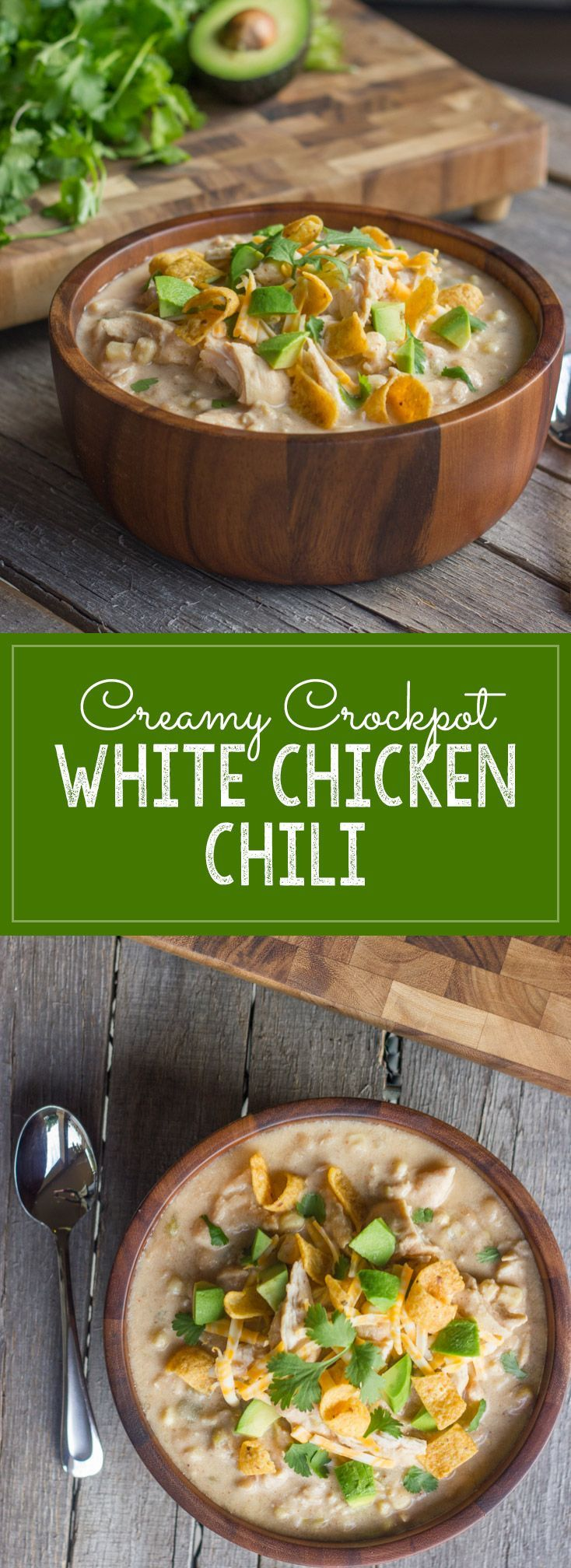 Creamy Crockpot White Chicken Chili - A family favorite made healthier, and so easy too!