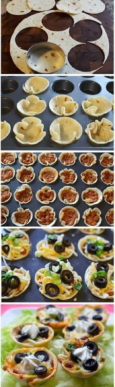 Ingredients 3-4 Tortilla Shells 2 (15oz) Cans of Chili 1 Cup Shredded Cheese Small can of Black Olives (sliced) 3-4 Scallions/ green onions (finely sliced) 1/2 cup Sour Cream Using a cookie cutter or round lid cut circles out of the tortilla's.