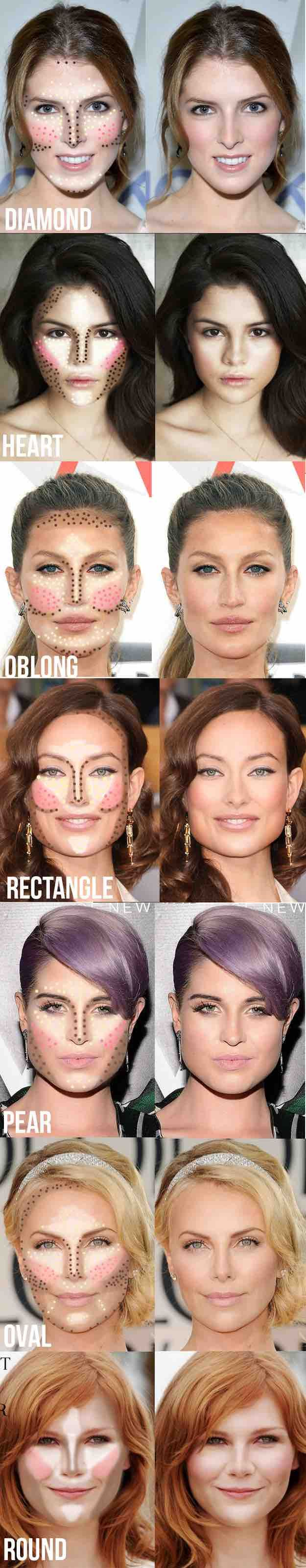 The perfect guide on how to contour and highlight based on your face shape. Image via Makeup Tutorials
